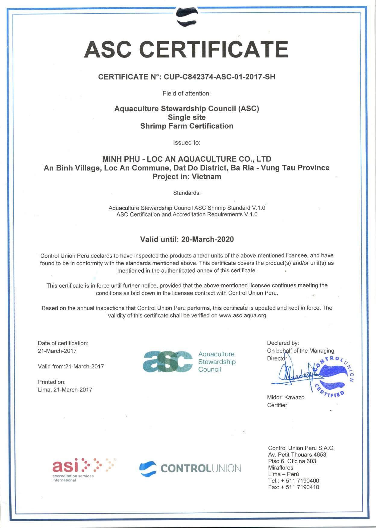 ASC CERTIFICATE MPLA