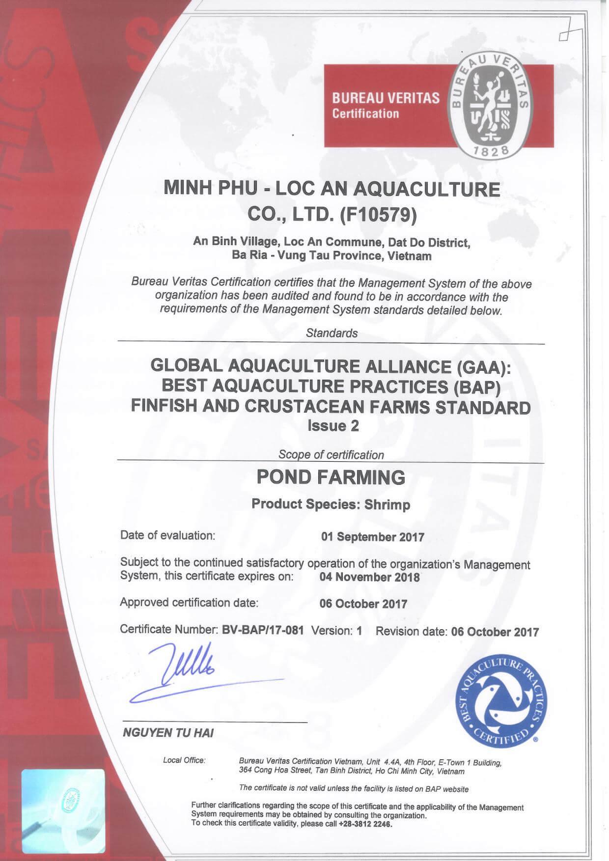 BAP Certificate Loc An