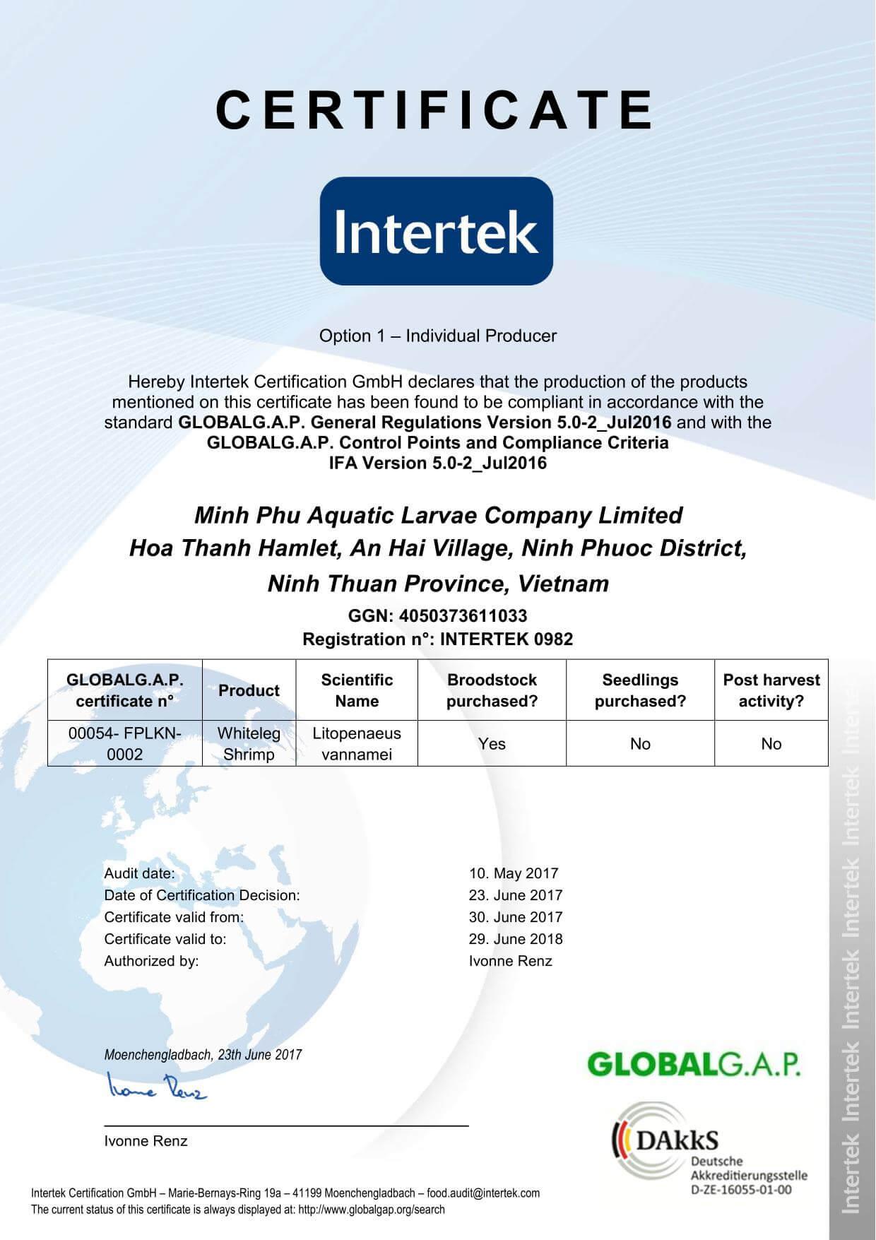 FINAL-GGAP Aqua Certificate_Minh Phu Aquatic Larvae Company Limited